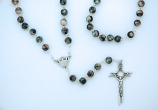 PV100GY - Grey/Coral Glass Rosary from Fatima