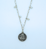 SSN44 - Sterling Silver Necklace, Rafael Angel Medal, 18 in. Sterling Silver Chain with Fresh Water Pearls