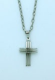 BCR12 - Brazilian Cross Necklace, Stainless Steel, 1 1/8 in., 20 in. Chain