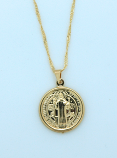 BMF582 - Brazilian Necklace, Gold Plated, Medium St. Benedict Medal, 20 in. Chain