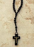 BTE01BKC - Brazilian Rosary Necklace, Black Wood with Clasp