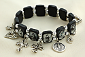 BVP19 - Brazilian Wood Bracelet, Black Wood, Black & White Pictures, with Medals