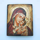 GROX2 - Greek Hand Painted Serigraph on Canvas & Antique Wood, Gold Leaf, 7x9 in.