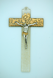 IG2295 - Italian Genuine Murano Glass Crucifix, Clear with Gold Design, 6 in.