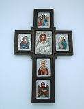 GPOL2 - Greek Icon, Hand Painted Serigraph Cross, Sterling Silver Plated, 17 in.