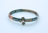 "CU4238 - Metal Bracelet with Cross and Crystals, ""Hope"" on Side"