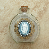VHWB20GD - Vintage Style Holy Water Bottle, Guadalupe Cameo, Double Row Swarovski Crystals