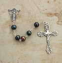 SSR8 - Sterling Silver Rosary, Black Freshwater Pearls