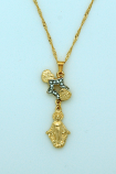 BMF556 - Brazilian Necklace, Gold Plated, Star with Hearts, Miraculous Medal, 20 in. Chain