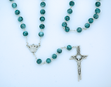 PV100B - 8 mm. Blue Glass Rosary from Fatima