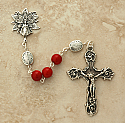 SSR5 - Sterling Silver Rosary, Coral with Sterling Silver Our Father Beads