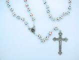 PM004B - 8 mm. Silver Metal Rosary with Multi-Colored Crystals from Fatima