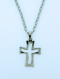 BCR06 - Brazilian Cross Necklace, Stainless Steel, Cut-Out, 1 1/4 in., 20 in. Chain
