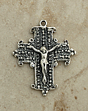 SSC28 - Sterling Silver Crucifix, Coptic, 19th Century, 1 1/2 in.