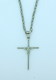 BCR32 - Brazilian Crucifix Necklace, Stainless Steel, 1 1/2 in., 20 in. Chain