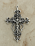 SSC12 - Sterling Silver Crucifix, Fleur de Lis, 2 1/4 in.