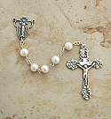 SSR7 - Sterling Silver Rosary, White Freshwater Pearls